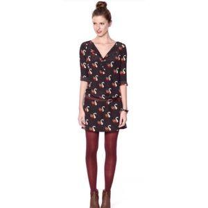 Fossil Silk Dress/Tunic with Swan Print-Size XS